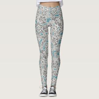 Grå blom- damasker leggings