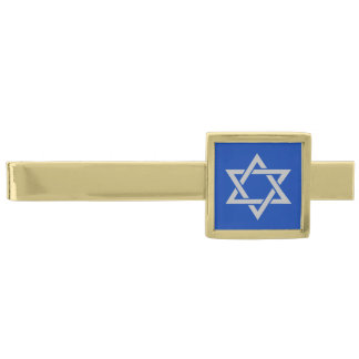 Grå davidsstjärna för silver på blått slipsnål med guldfinish