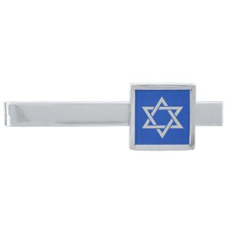 Grå davidsstjärna för silver på blått slipsnål med silverfinish