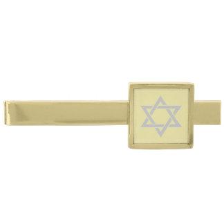 Grå davidsstjärna för silver på ljust guld guldpläterad slipsnål