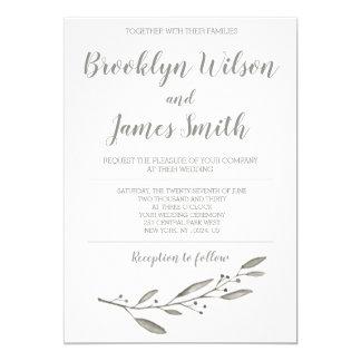 Grå färg för blommigt för elegant 12,7 x 17,8 cm inbjudningskort