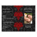 Grå färg för fotobröllopsprogramsvart & röd damast flygblad