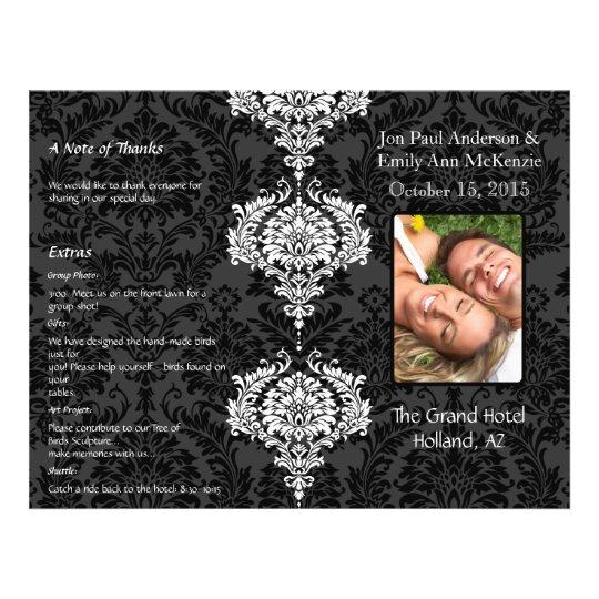 Grå färg för fotobröllopsprogramsvart & vitdamast reklamblad