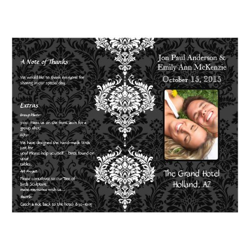 Grå färg för fotobröllopsprogramsvart & vitdamast reklamblad 21,5 x 30 cm
