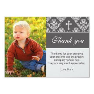 Grå färg för kort för foto för doptackkort 12,7 x 17,8 cm inbjudningskort