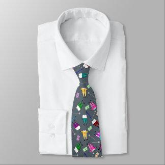 Grå färg för tandläkaretandfolk konst slips