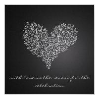 """grå färg kvadrerar bröllopinbjudan """"med kärlek """","""