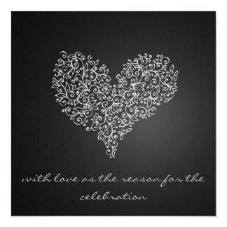 """grå färg kvadrerar bröllopinbjudan """"med kärlek """", fyrkantigt 13,3 cm inbjudningskort"""
