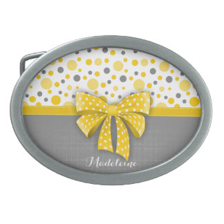 Grå färg- och gultpolka dots, soligt gult band