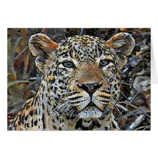 Grå färg synad Leopard Hälsningskort
