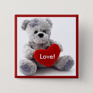 Grå färg uthärdar med hjärta standard kanpp fyrkantig 5.1 cm