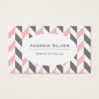 Grå färg-, vit- och rosasparre, sicksackmönster visitkort