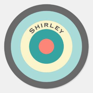 Grå färgkombinationsBullseye av Shirley Taylor Runt Klistermärke