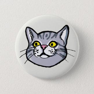 Grå färgtabby kattteckningen knäppas emblem standard knapp rund 5.7 cm