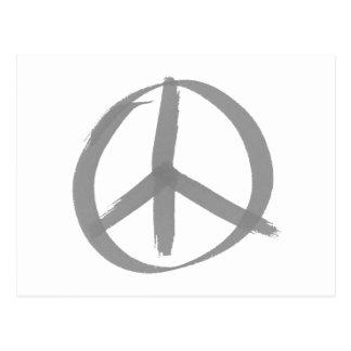 Grå fredstecken vykort