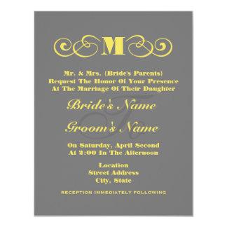 Grå & gul Monogrambröllopinbjudan 10,8 X 14 Cm Inbjudningskort