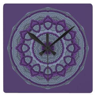 Grå Mandala för lilor Fyrkantig Klocka