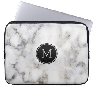 Grå marmorstenMonogram Laptop Sleeve