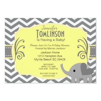 Grå och gul baby showerinbjudan för neutralt 12,7 x 17,8 cm inbjudningskort