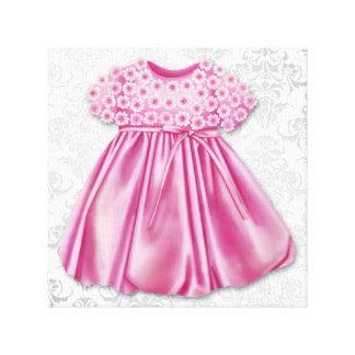 Grå och rosa damastast flicka för klänningrosaklän canvastryck