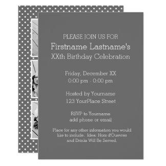 Grå och rosa Instagram 5 fotofödelsedagsfest 12,7 X 17,8 Cm Inbjudningskort