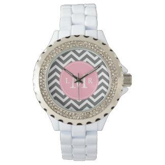 Grå och rosa sicksackMonogram Armbandsur