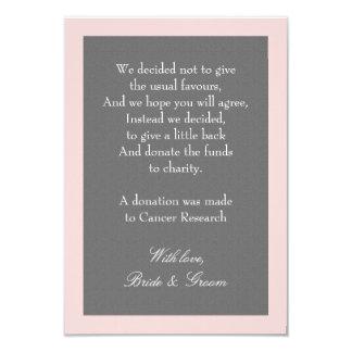 Grå & rodna rosa bröllopdonation noterar 8,9 x 12,7 cm inbjudningskort
