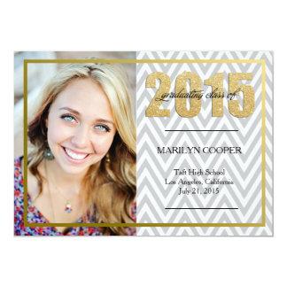 Grå sparre och guld- glitterstudenteninbjudan 12,7 x 17,8 cm inbjudningskort