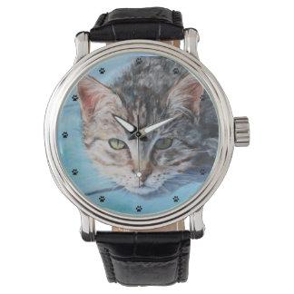 Grå tabby kattkonst armbandsur