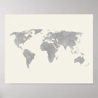 Grå världskarta på kanfasbakgrund poster