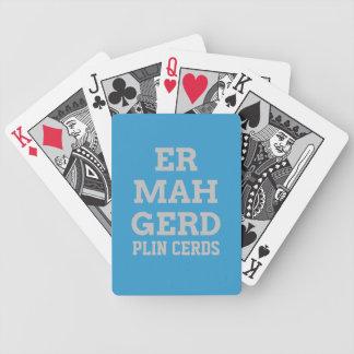 Gråa Ermahgerd som leker kort Spelkort