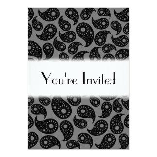 Gråa och svart Paisley. 12,7 X 17,8 Cm Inbjudningskort