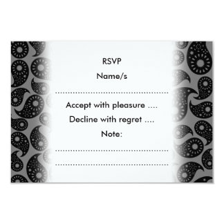 Gråa och svart Paisley. 8,9 X 12,7 Cm Inbjudningskort