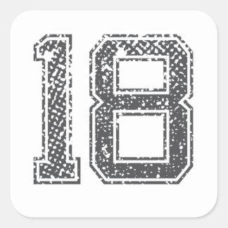 Gråa sportar Jersey #18 Fyrkantigt Klistermärke