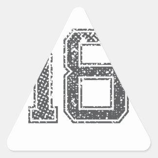 Gråa sportar Jersey #18 Triangelformat Klistermärke