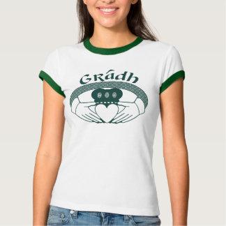 Gradh för Claddagh ringkärlek Gaelic i grönt Tröja