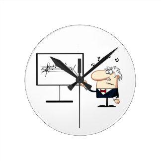 grafisk äldre man för musiklärare rund klocka