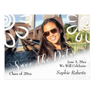 Grafisk blom- spara för vit daterastudenten vykort