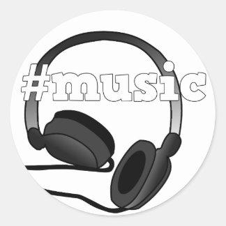 Grafisk design för #Music hörlurarDigital konst Runt Klistermärke