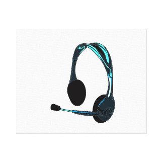 Grafisk hörlurar för svart för chattastilblått canvastryck