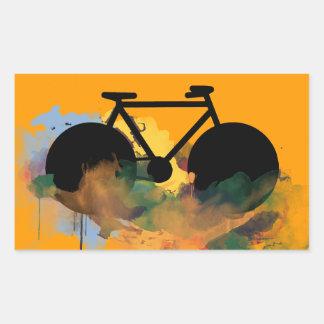 grafisk illustration för stads- cykelkonst rektangulärt klistermärke