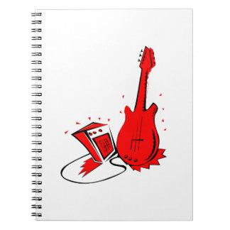 Grafisk stylized röd lägenhet för gitarr n ampere anteckningsbok