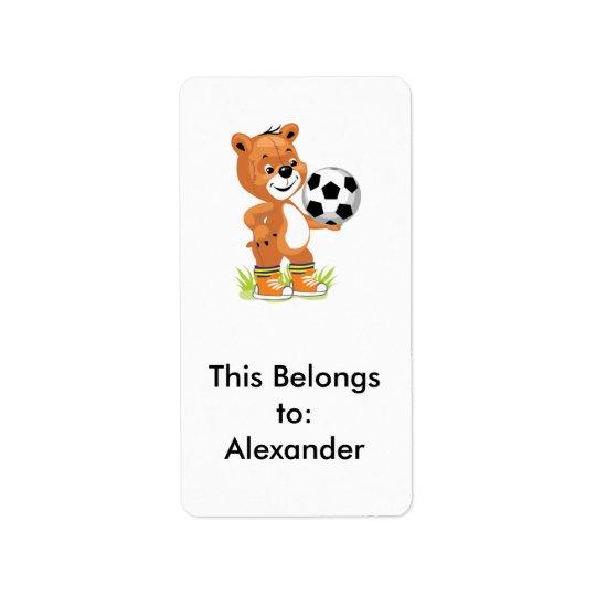 grafisk tecknad för fotbollspelarenalle adressetikett
