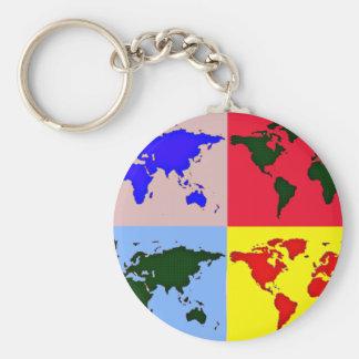 grafisk världskarta rund nyckelring