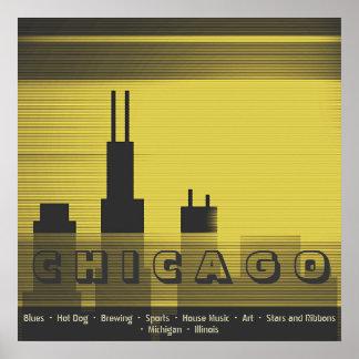 Grafiska sundown och solnedgång för Chicago stad Poster
