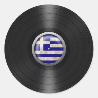 Grafiskt grekiskt album för flaggavinylrekord rund klistermärke