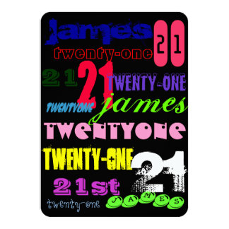 Grafitti 21st på svart 11,4 x 15,9 cm inbjudningskort
