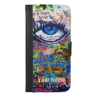 Grafitti för ont öga för blått moderna iPhone 6/6s plus plånboksfodral