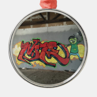 Grafitti Wildstyle Rund Silverfärgad Julgransprydnad