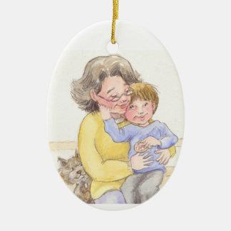 Grammys pojke julgransprydnad keramik